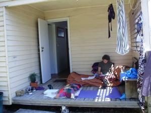 Helena, hard at work at the writers' hut