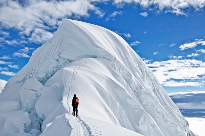 mountain climber near summit