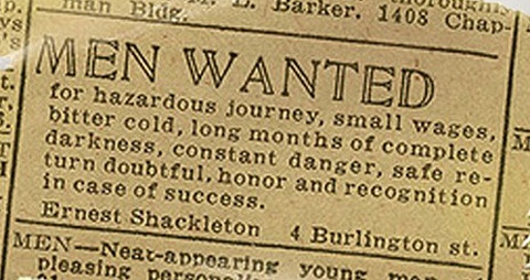 shackleton's expedition advertisement