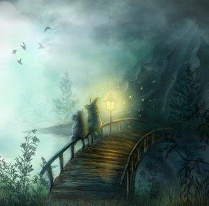 Moomintroll and Snufkin on the bridge at night