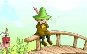 snufkin sitting on a bridge playing the harmonica