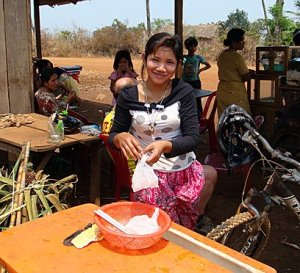 Khmer sugar cane juice vendor