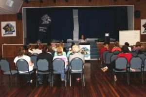 Creek pampering night crowd in the ballroom of the McKinlay Shire Council chambers