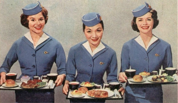 Air hostesses with food