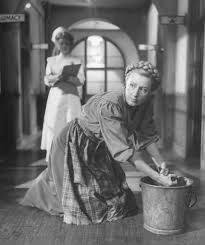 Woman scrubbing