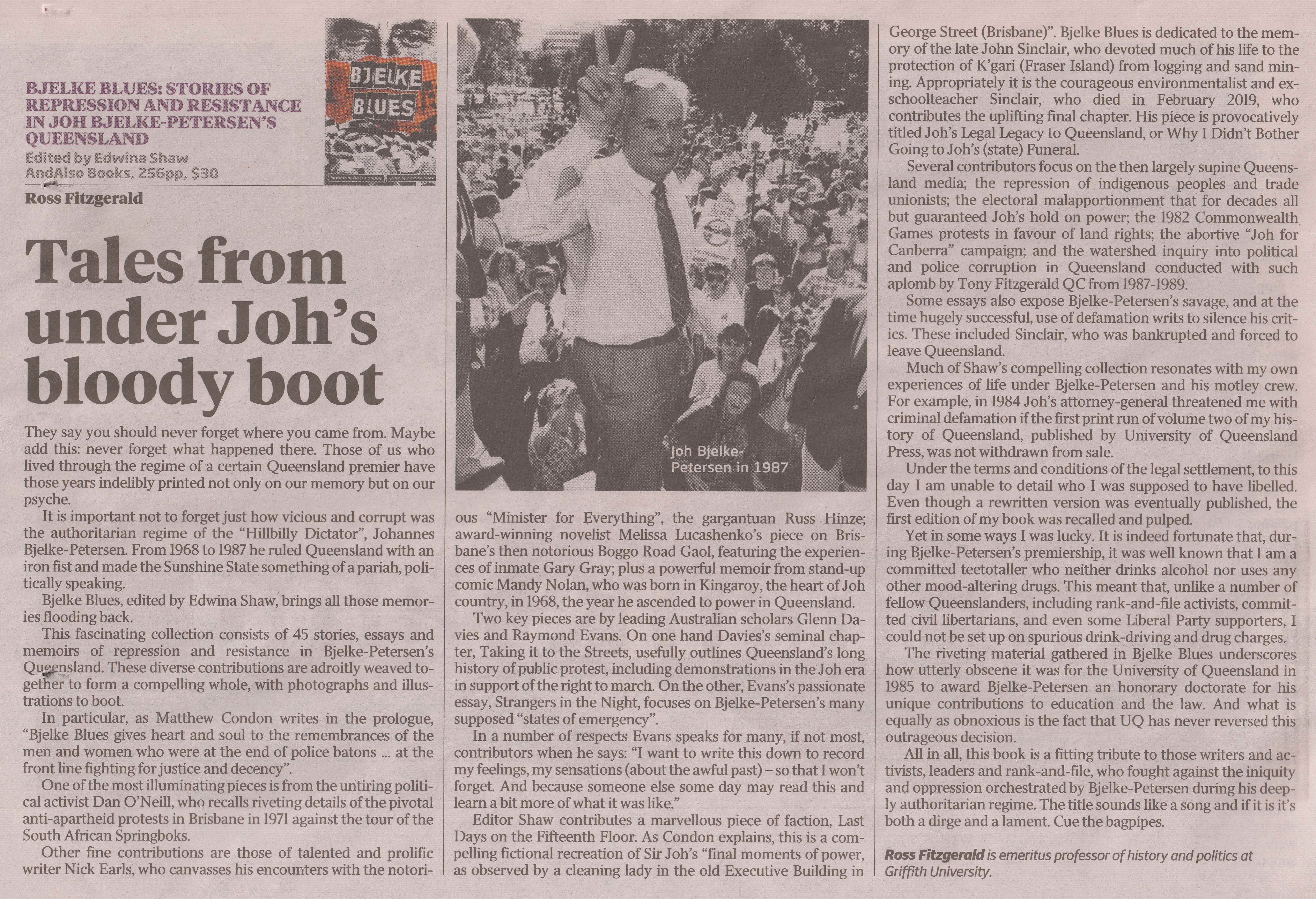 Bjelke Blues review, Fitzgerald, Weekend Aust 9-11-19 (lo res)